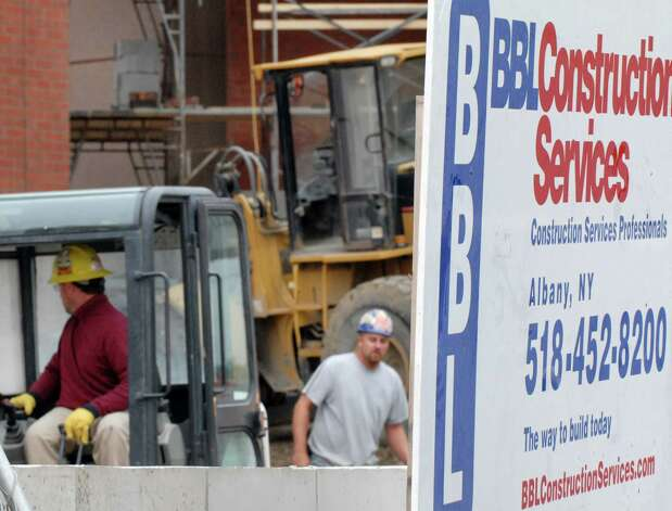 Construction workers for BBL Construction Services, Monday Sept. 27, 2010, at Albany Medical Center in Albany, N.Y.  BBL Construction Services, one of the region?s largest builders, has withdrawn from its role as co-construction manager of the proposed downtown convention center as officials continue to evaluate new sites. (Will Waldron / Times Union) Photo: Will Waldron