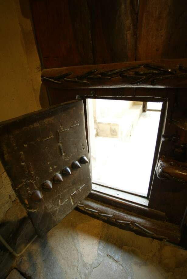 The smaller door at the entrance from inside the fort.