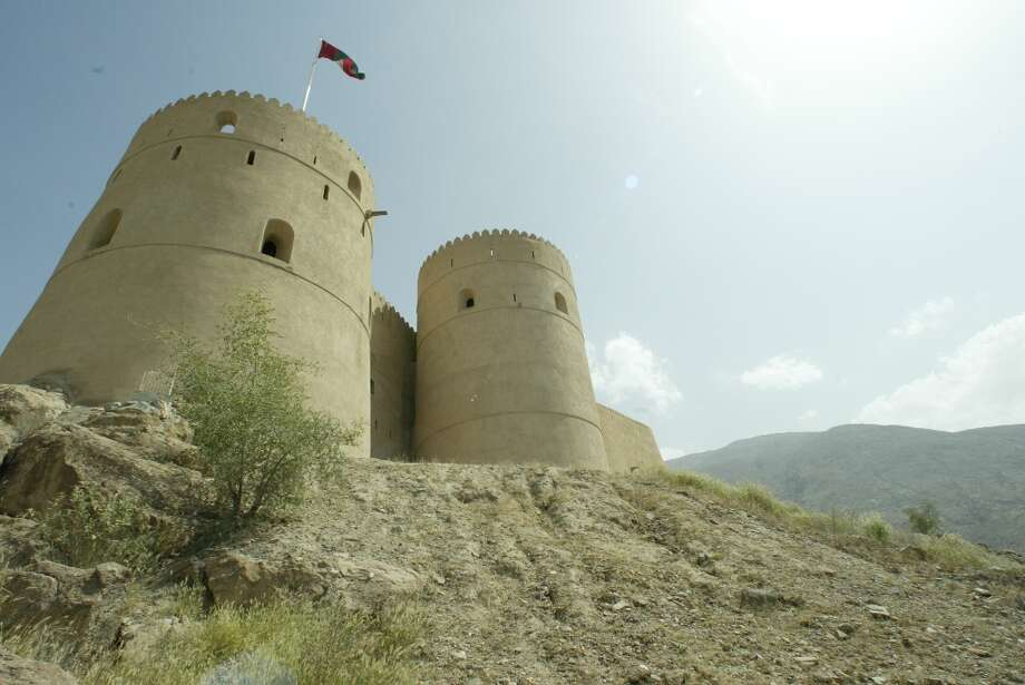 The fort sits atop a hill in the middle of Rustaq.