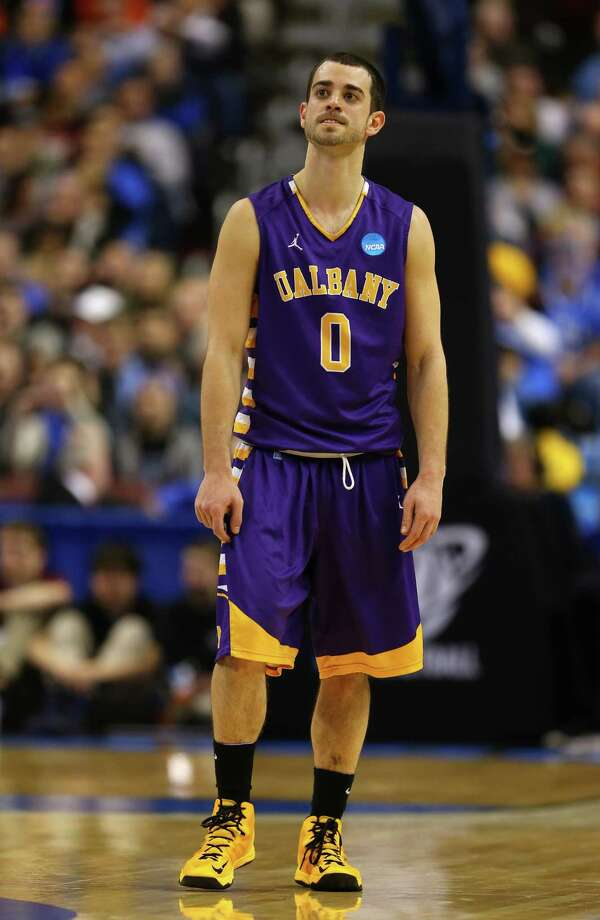 PHILADELPHIA, PA - MARCH 22:  Jacob Iati #0 of the Albany Great Danes reacts in the second half while taking on the Duke Blue Devils during the second round of the 2013 NCAA Men's Basketball Tournament on March 22, 2013 at Wells Fargo Center in Philadelphia, Pennsylvania. Photo: Elsa, Getty Images / 2013 Getty Images