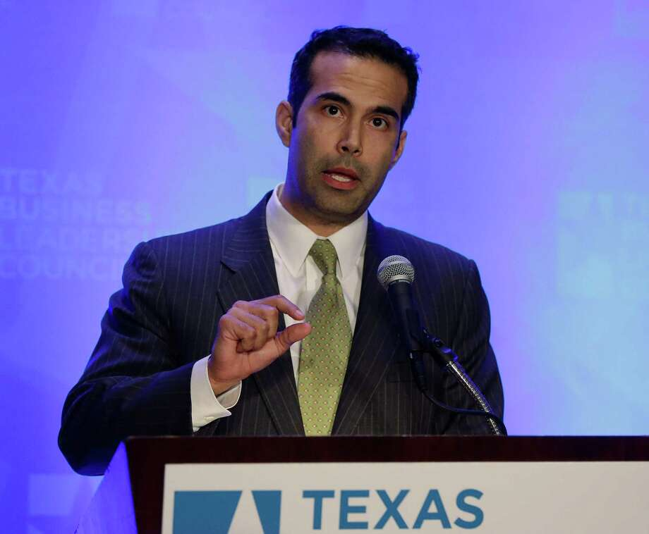 George P. Bush talks about education as he makes the opening statements at the Texas Business Leadership Council, Tuesday, Feb. 26, 2013, in Austin, Texas. (AP Photo/Eric Gay) Photo: Eric Gay, Associated Press / AP