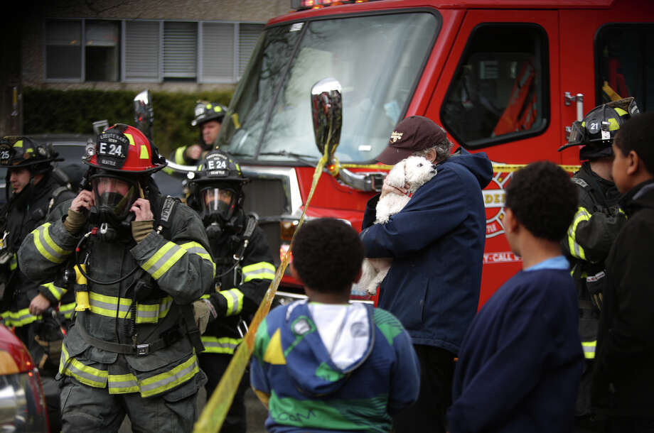 David Bailey holds onto his friend's dog Lilly after he was handed the rescued pup by a firefighter as crews battle a four-story apartment fire on Friday, March 22, 2013 in Seattle's Pinehurst neighborhood. The fire damaged six units of the building and was apparently started by a burning motorcycle. Photo: JOSHUA TRUJILLO / SEATTLEPI.COM