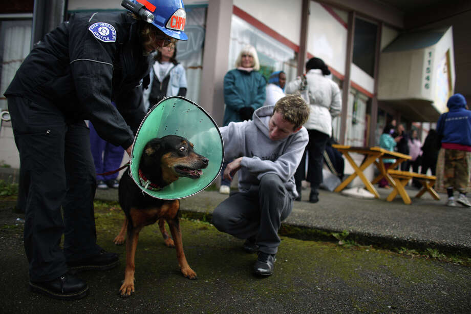 Seattle Fire Chaplain Abigail Hodge and Claudine Fisher work to identify a frightened dog rescued by firefighters as they battle a four-story apartment fire on Friday, March 22, 2013 in Seattle's Pinehurst neighborhood. The fire damaged six units of the building and was apparently started by a burning motorcycle. Photo: JOSHUA TRUJILLO / SEATTLEPI.COM