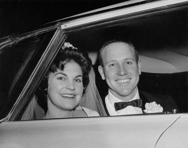 Then: In this photo taken December 29,1962, Patricia Ann (Poeck) and George Lagleder were arriving at their wedding reception at Koenig Park Hall in Castroville, Texas. They were united in marriage by Reverend Leo Goertz at St. Louis Catholic Church, Castroville. Photo: Courtesy Photo