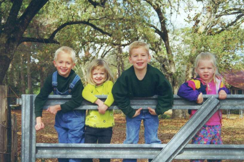 Then: Cousins visiting their grandparents in Franklin, Texas at Thanksgiving 1999. Left to ri