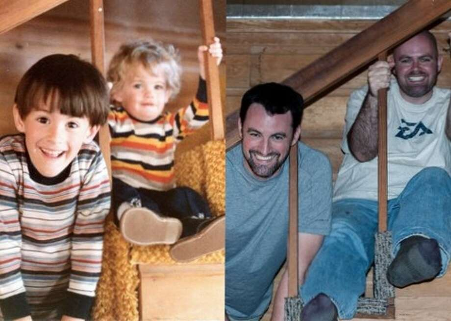 Brothers Lowell (left) and Colin. Then: The original picture was taken Thanksgiving of 1980 Now: The re-enacted photo was taken Thanksgiving of 2012. They are the sons of Roger and Alexis McRoberts. Photo: Picasa, Courtesy Photo