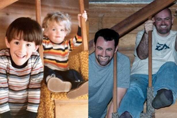Brothers Lowell (left) and Colin. Then: The original picture was taken Thanksgiving of 1980 Now: The re-enacted photo was taken Thanksgiving of 2012. They are the sons of Roger and Alexis McRoberts.
