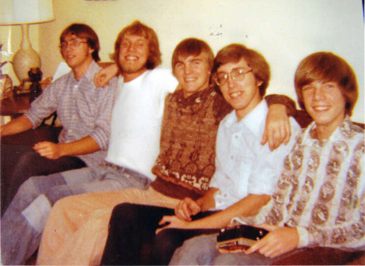 Then: Brothers at Christmas, 1976. Left to right: Randy, Mark, David, Charles, and Richard Ne