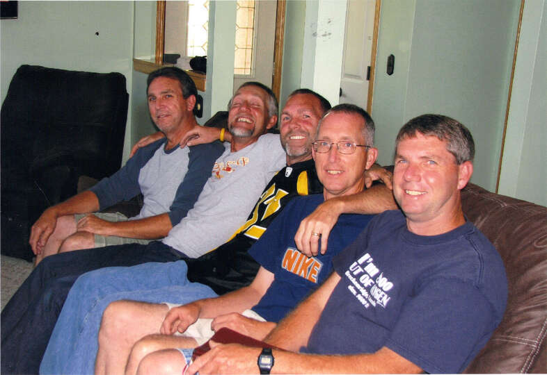 Now: September 2009. Left to right, Randy, Mark, David, Charles, and Richard Newman.