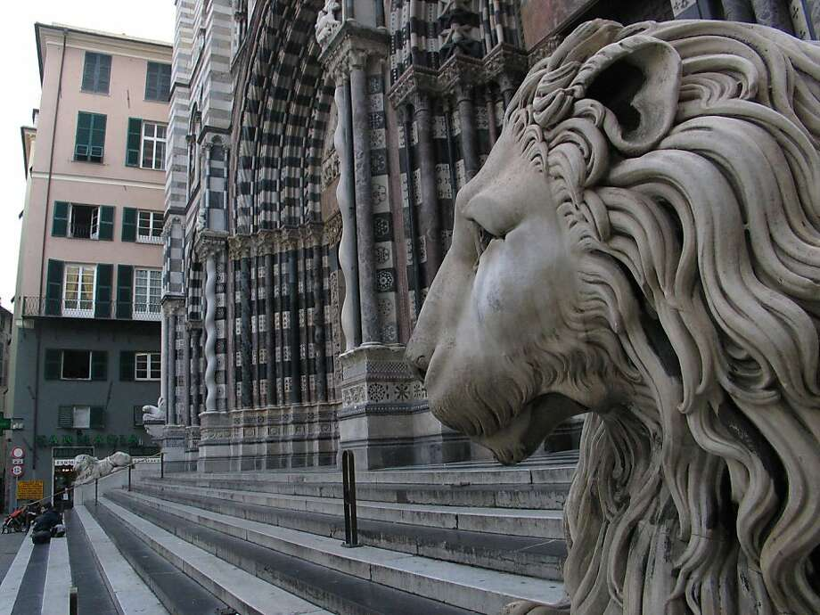 TRAVEL EUROSHIP -- Among the landmarks Mediterranean cruise passengers are likely to see are lions at the San Lorenzo cathedral in Genoa, Italy.  Genoa on 4/3/06. Spud Hilton / The Chronicle Photo: Spud Hilton, SFC