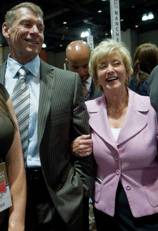 Linda and Vince McMahon at the May 2012 Republican state convention in Hartford. The couple's family foundation has donated $1 million for the new Westport Weston Family Y. Photo: Jessica Hill, Associated Press / AP2012
