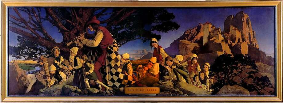 """Maxfield Parrish's """"Pied Piper of Hamelin"""" is too valuable to display, the hotel's owner says. Photo: Maxfield Parrish"""