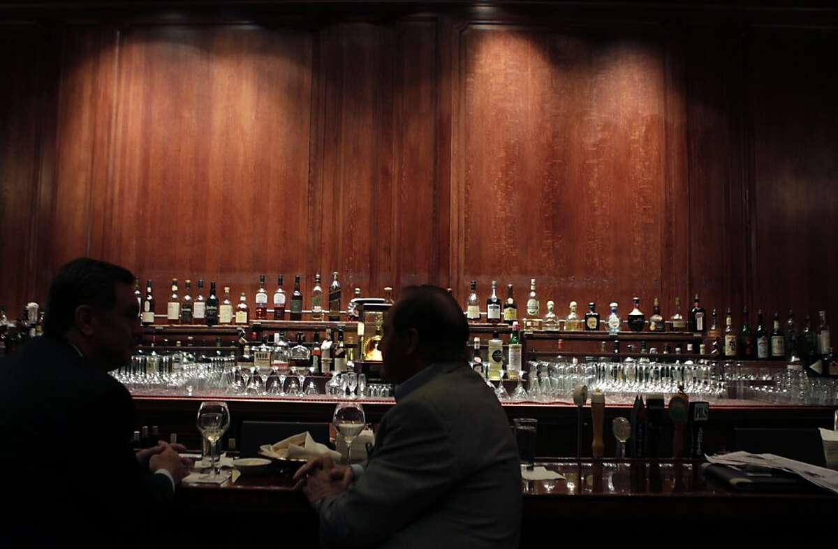 The wall behind the bar of the Pied Piper Bar and Grill is bare inside the Palace Hotel in San Francisco, Calif. on Friday, March 22, 2013, where Maxfield Parrish's painting was displayed for many years. It was removed this morning and will be sold at auction.