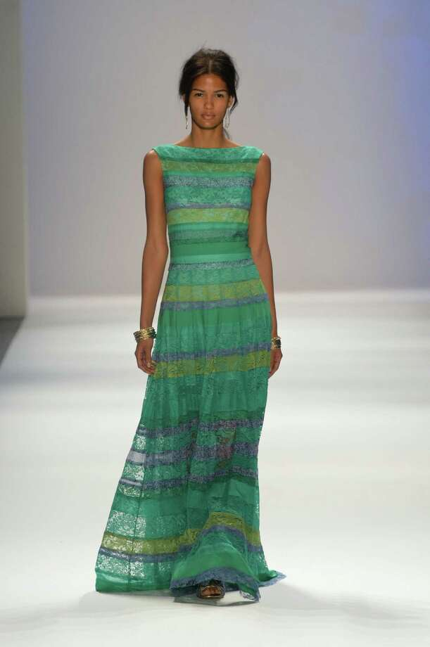 A model walks the runway at the Tadashi Shoji Spring 2013 fashion show during Mercedes-Benz Fashion Week on on September 6, 2012 in New York City. Photo: Mike Coppola, Getty Images / 2012 Getty Images