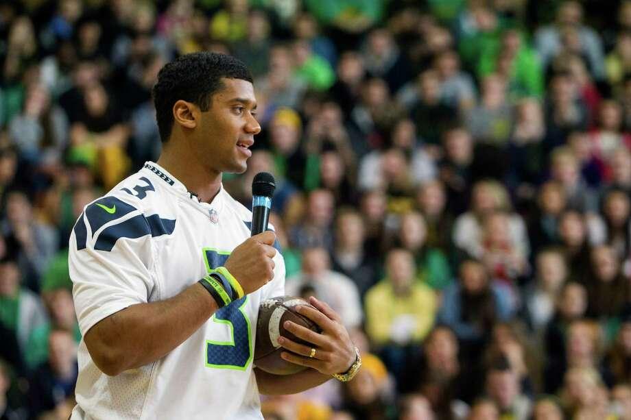Russell Wilson pays a congratulatory visit to Roosevelt High School. Photo: JORDAN STEAD / SEATTLEPI.COM