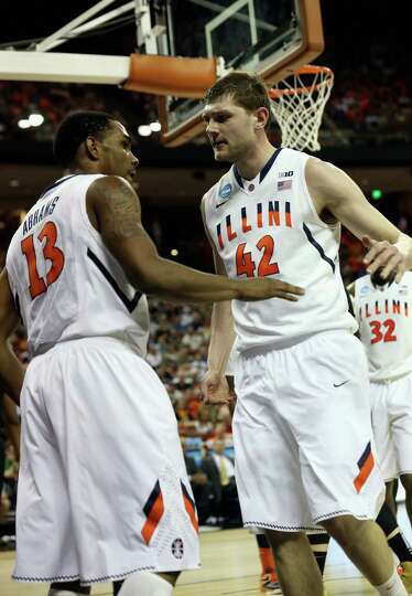 Tyler Griffey #42 and Tracy Abrams #13 of the Illinois Fighting Illini celebrate against the Color