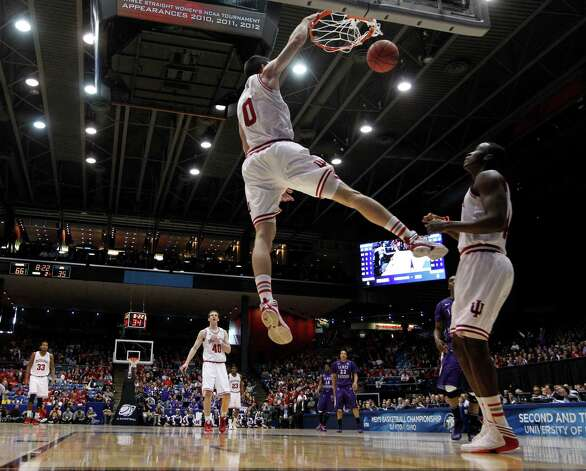 Indiana's Will Sheehey (0) dunks off a steal against James Madison during the second half in the second round of the NCAA Tournament at the University of Dayton Arena in Dayton, Ohio, on Friday, March 22, 2013. Indiana won, 83-62. (Brian Cassella/Chicago Tribune/MCT) Photo: Brian Cassella, McClatchy-Tribune News Service / Chicago Tribune