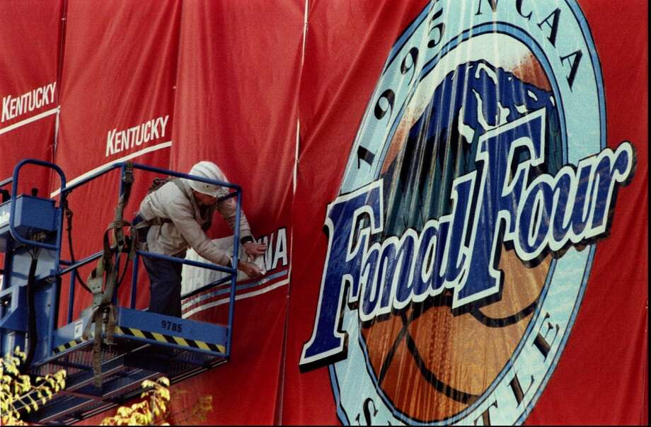 1995:The Final Four returned to the Kingdome in 1995 -- the last time Seattle hosted the Final Four. The caption to this March 27, 1995, P-I photo reads: ''K. Simonson with Messenger Signs of Seattle hangs the name of the first of the Final Four teams to compete in the Kingdome later this week. The teams are North Carolina (which he is uncovering now), Arkansas, Oklahoma State and UCLA.''