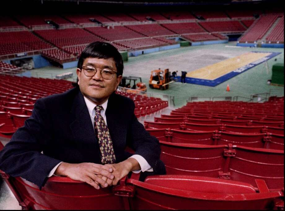 1995: The caption for this March 24, 1995, P-I photo reads: ''Mike Maraushi in 1978 sent a copy of the Kingdome seating chart for the Sonics to the NCAA and asked if they would be interested in the Dome for the NCAA Final Four. The NCAA said they would. Mike is shown inside the Kingdome. In the background work is being done on the floor for the Final Four.''