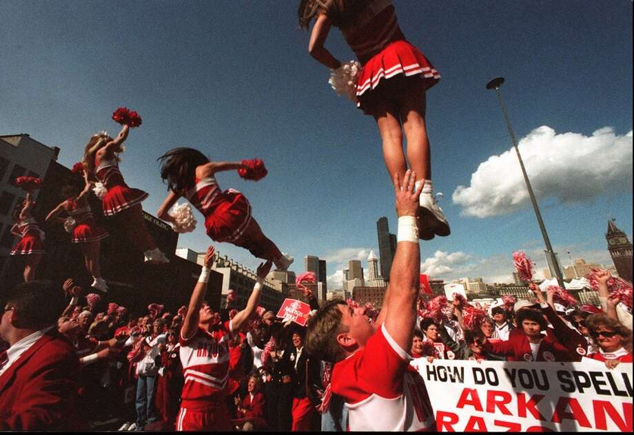 1995: The caption to this April 1, 1995, P-I photo reads: ''The University of Arkansas Razorbacks cheerleading squad performs during a spirit rally in front of the Kingdome on Saturday.''