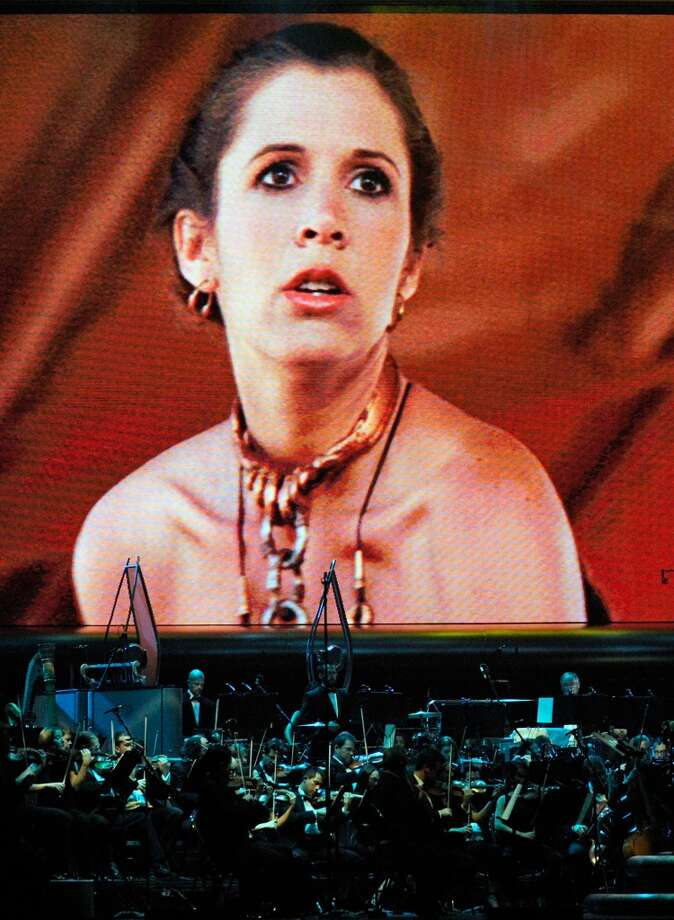Apologies for finding no full-length pictures of Carrie Fisher in Princess Leia's space-age bikini from ''Star Wars Episode VI: Return of the Jedi.'' (Photo is from a 2010 concert).