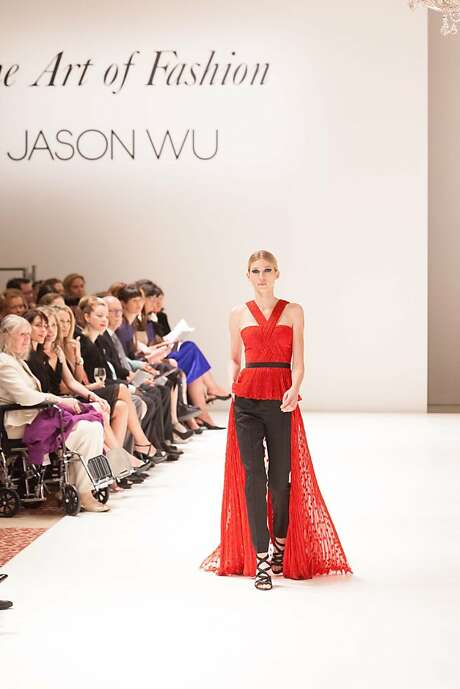 A short-front dress with flowing train paired with straight-legged pants for evening is part of Jason Wu's fall 2013 collection. Photo: Drew Altizer Photography