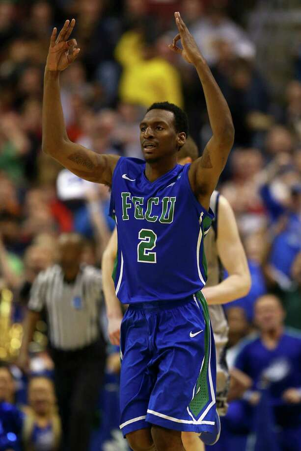 Florida Gulf Coast 78, Georgetown 68Bernard Thompson #2 of the Florida Gulf Coast Eagles celebrates a play in the second half against the Georgetown Hoyas. Photo: Elsa, Getty Images / 2013 Getty Images