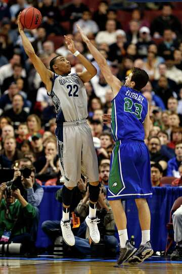 Otto Porter Jr. #22 of the Georgetown Hoyas attempts a shot in the second half against Eddie Murray