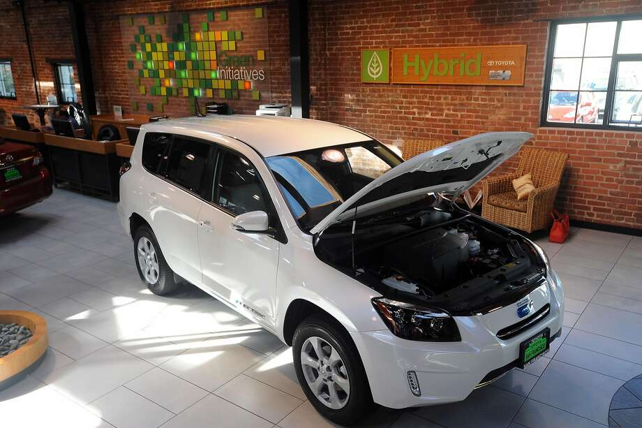 The Rav 4 EV is on display at the Toyota dealership on Geary Blvd. in San Francisco on March 21, 2013. Photo: Susana Bates, Special To The Chronicle
