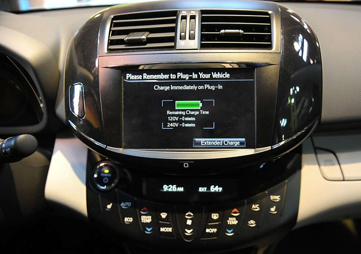 The inteletouch navigation screen is seen inside the Rav 4 EV which is on display at the Toyota dealership on Geary Blvd. in San Francisco on March 21, 2013.