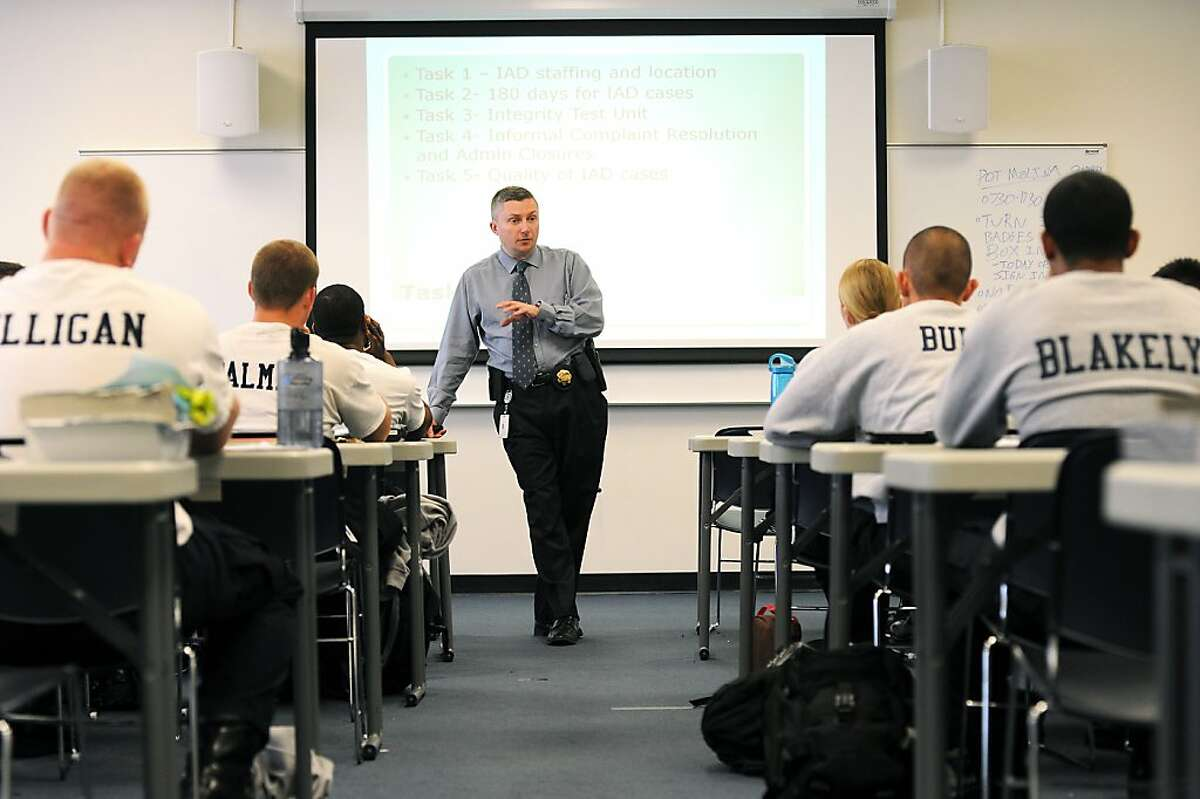 FILE - Deputy Chief Sean Whent is expected to be named the new interim chief. Here he is shown teaching at OPD Headquarters in Oakland, CA Wednesday March 20th, 2013.