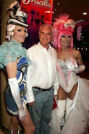 Terence Stamp starred in the drag road movie PRISCILLA QUEEN OF THE DESERT.  He is seen here with actors starring in the stage version of the film.