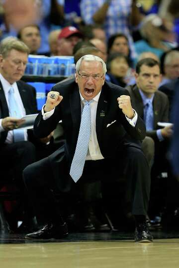 Head coach Roy Williams of the North Carolina Tar Heels reacts in the second half against the Villan