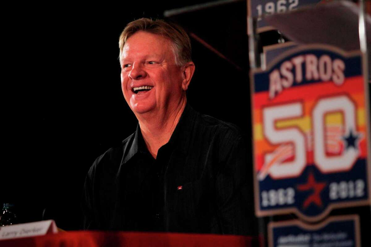 The Astros invited Larry Dierker to reminisce about his playing days when the 50th anniversary logo was unveiled at Minute Maid Park on Sept. 22, 2011.