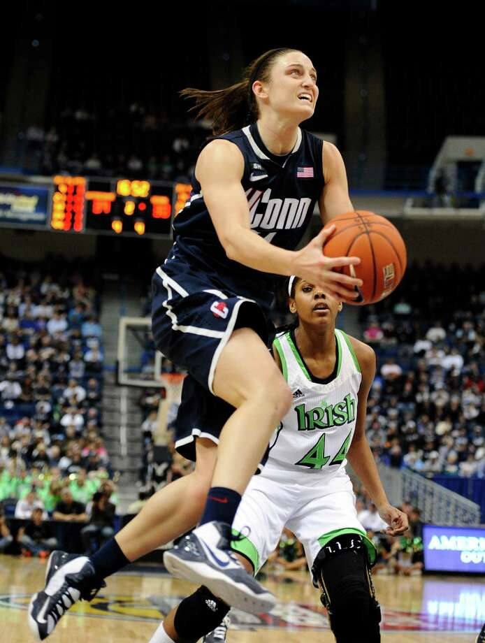 Connecticut's Kelly Faris in the second half of an NCAA college basketball game in the final of the Big East Conference women's tournament in Hartford, Conn in Hartford, Conn., Tuesday, March 12, 2013. (AP Photo/Jessica Hill) Photo: Jessica Hill, Associated Press / FR125654 AP
