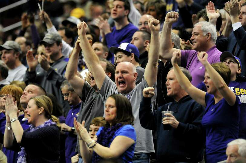 UAlbany fans cheer for their team during their second round NCAA Tournament against Duke on Friday,