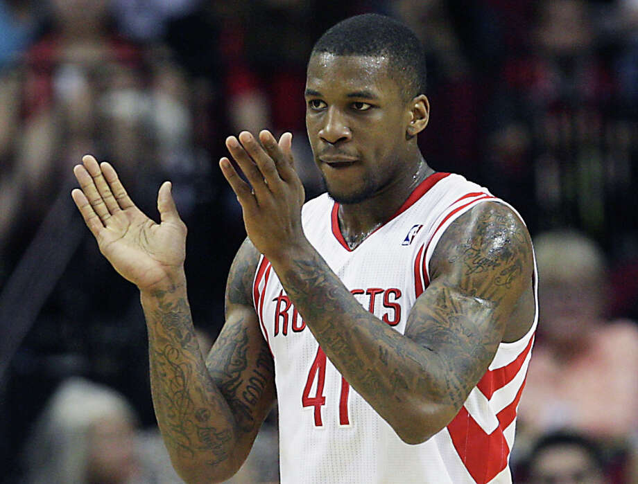 March 22: Rockets 116, Cavaliers 78Rockets forward Thomas Robinson celebrates a made basket in the first quarter. Photo: James Nielsen / © 2013 Houston Chronicle