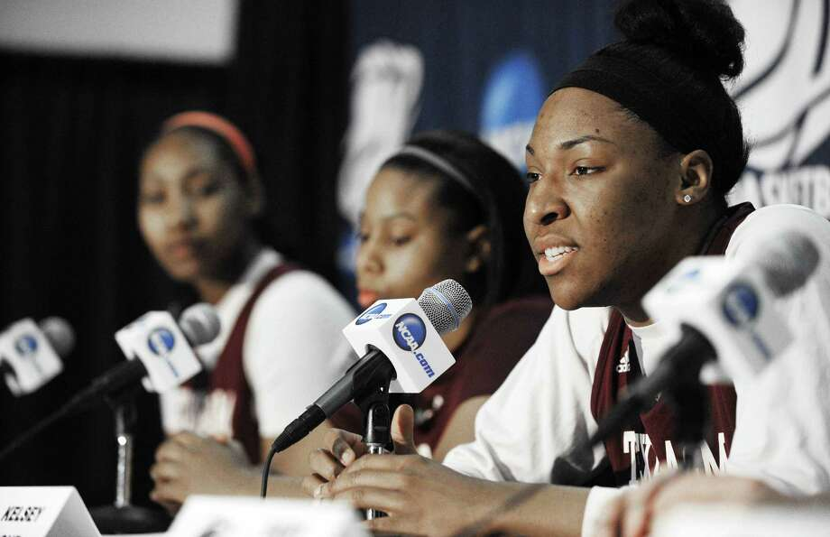 A&M center Kelsey Bone says she and her teammates are happy to be one of four women's teams representing the state of Texas in the NCAA tournament in a year the men were shut out. Photo: Pat Sullivan / Associated Press