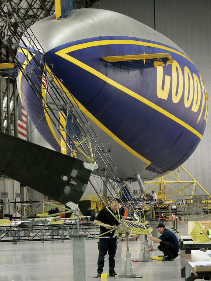 Mechanics in Ohio work on a section of the interior frame for Goodyear's new fleet of airships. Photo: ED SUBA JR., MBR / Akron Beacon Journal