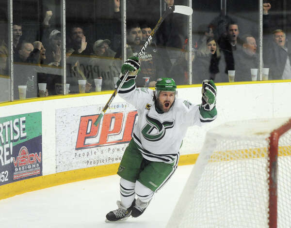 Danbury's Cody Ayers celebrates his goal in the Danbury Whalers' 6-3 win over the Dayton Demons in the Commisioner's Cup finals at Danbury Arena in Danbury, Conn. on Friday, March 22, 2013. Photo: Tyler Sizemore / The News-Times