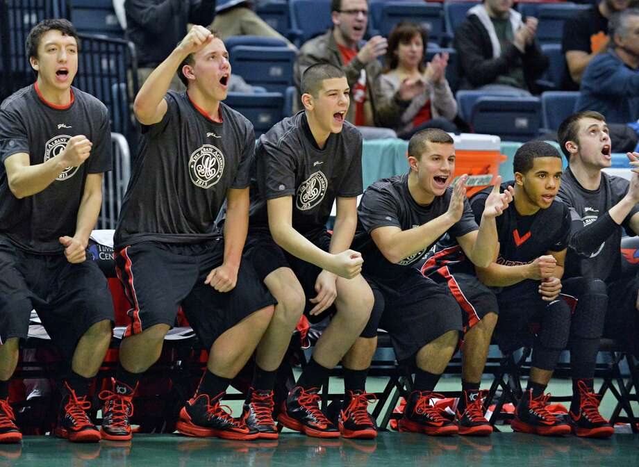 The Albany Academy bench reacts as they pull ahead of Nazareth for the Class A Federation semifinal at the Times Union Center in Albany Friday March 22, 2013.  (John Carl D'Annibale / Times Union) Photo: John Carl D'Annibale / 00021669A