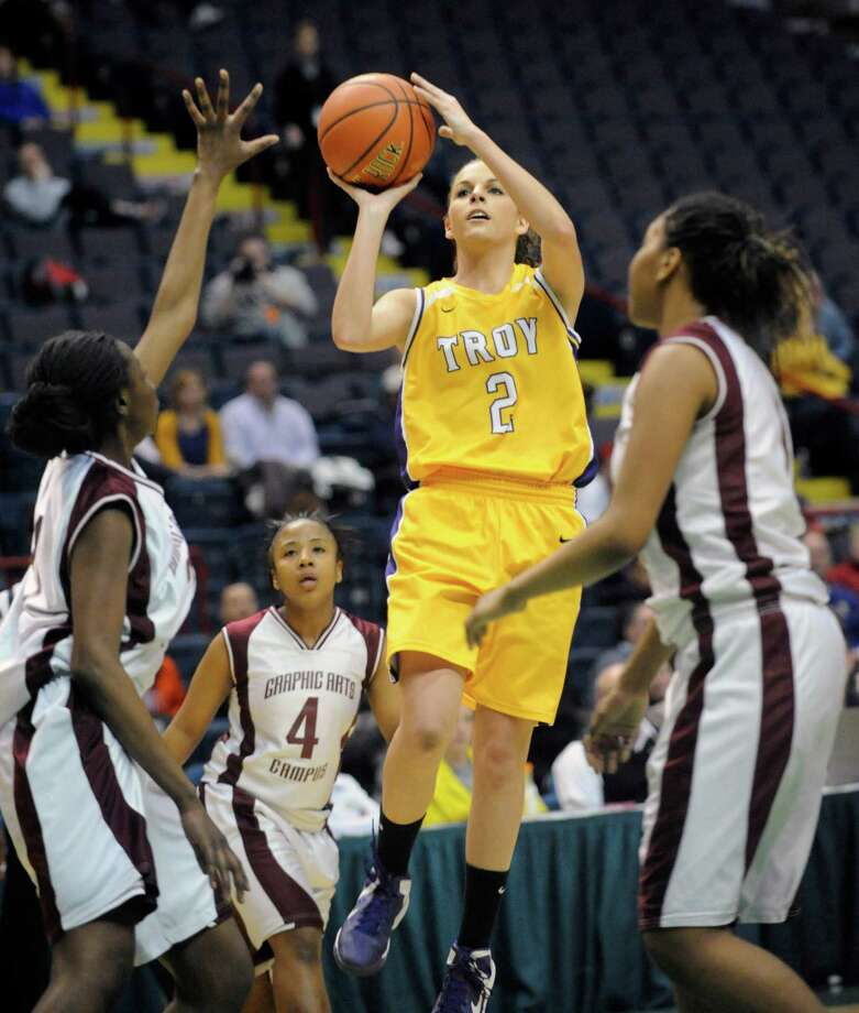 Troy's Meg Driscoll (2) puts up a shot against Graphic Communications Arts' during the girls' Class A Federation Tournament of Champions semifinal basketball game in Albany, N.Y., Friday, March 22, 2013. (Hans Pennink / Special to the Times Union) High School Sports Photo: Hans Pennink / Hans Pennink
