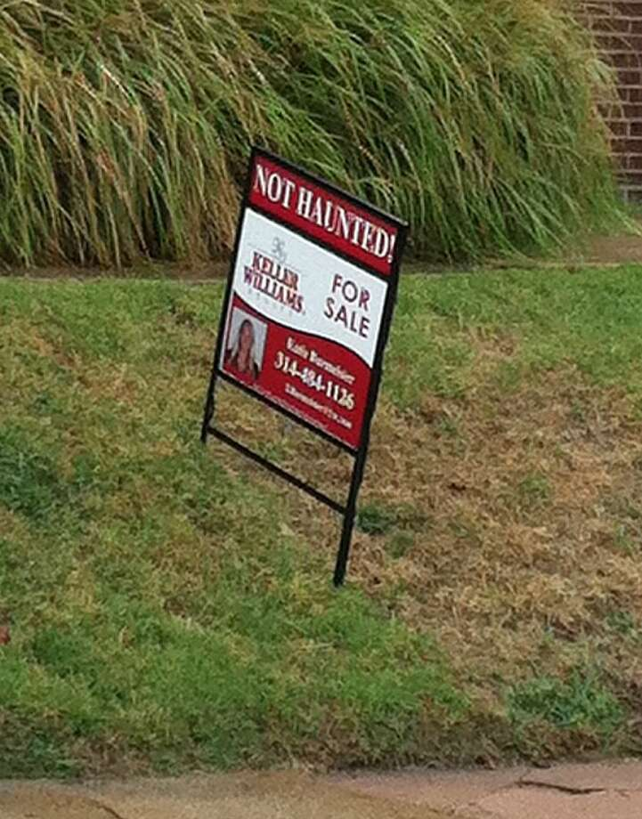 Not technically a home for sale photo, it is a photo of an unusual sign advertising one. Photo via Hooked on Houses.