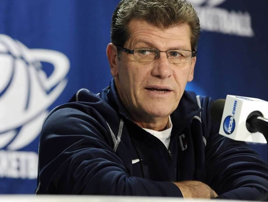 Connecticut head coach Geno Auriemma speaks during a news conference before practice for a first-round game in the women's NCAA college basketball tournament in Storrs, Conn., Friday, March 22, 2013. Connecticut will play Idaho on Saturday. (AP Photo/Jessica Hill)
