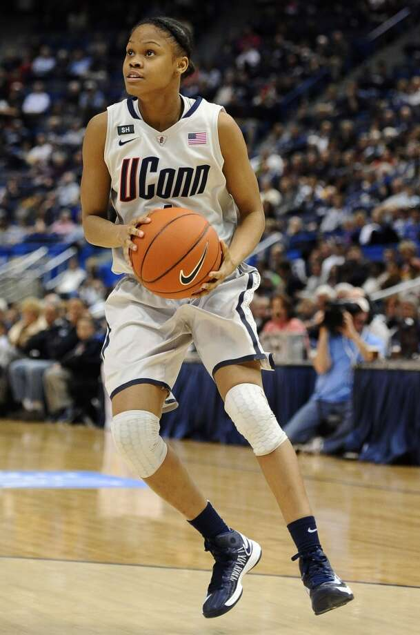 Connecticut's Moriah Jefferson during the second half of an NCAA college basketball game in Hartford, Conn., Tuesday, Feb. 26, 2013. (AP Photo/Jessica Hill)
