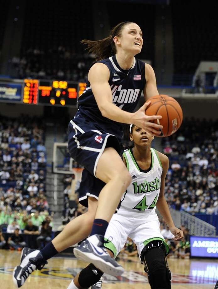 Connecticut's Kelly Faris in the second half of an NCAA college basketball game in the final of the Big East Conference women's tournament in Hartford, Conn in Hartford, Conn., Tuesday, March 12, 2013. (AP Photo/Jessica Hill)