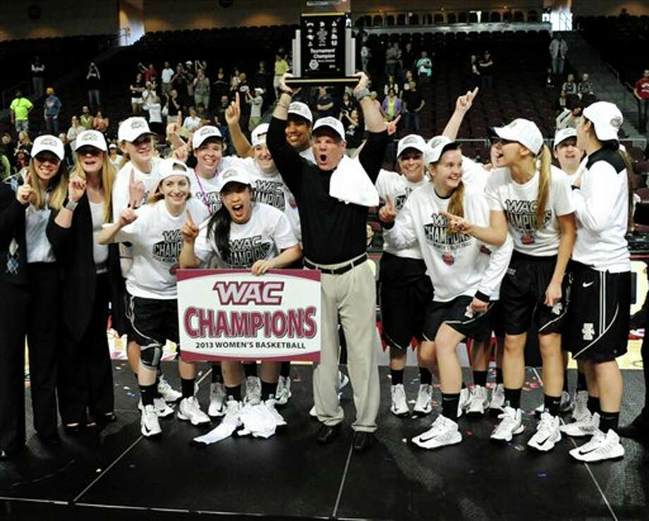 In this photo provided by the Las Vegas News Bureau, Idaho players celebrate their 67-64 win over Seattle in an NCAA college basketball game in the Western Athletic Conference women's tournament championship, Saturday, March 16, 2013, in Las Vegas. (AP Photo/Las Vegas News Bureau, Brian Jones) Photo: Brian Jones, ASSOCIATED PRESS / AP2013