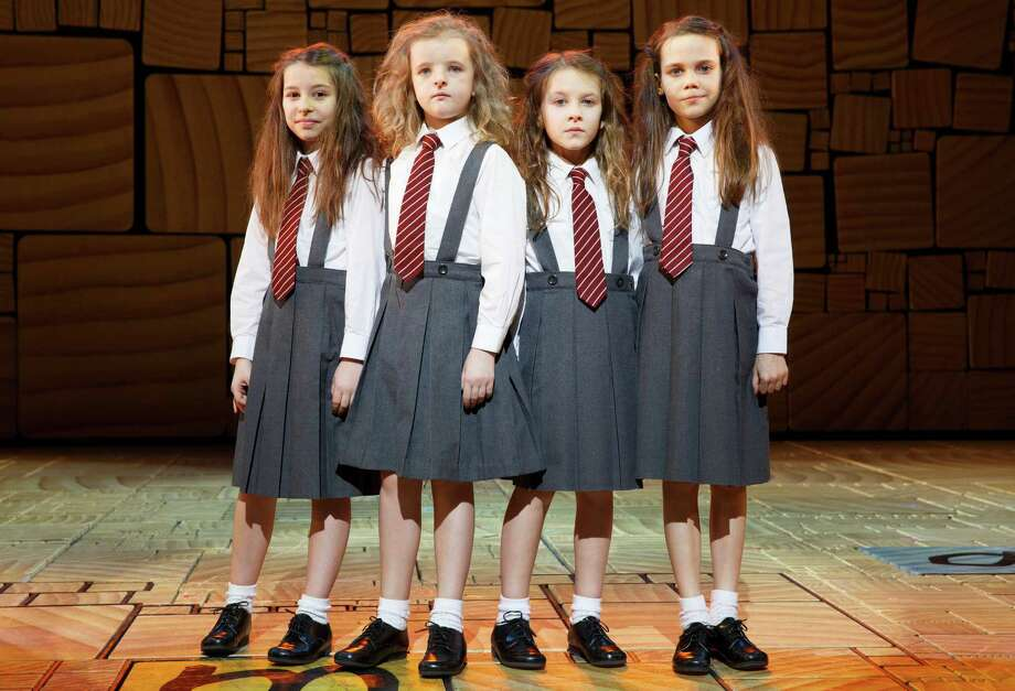 "This theater publicity image released by Boneau/Bryan-Brown shows the four actresses who share the title role in ""Matilda The Musical,"" from left, Bailey Ryon, Milly Shapiro, Sophia Gennusa, and Oona Laurence on stage at the Shubert Theatre in New York. (AP Photo/Boneau/Bryan-Brown, Joan Marcus) Photo: Joan Marcus"