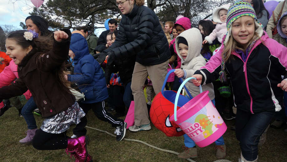 And they're off to a start during the Greenwich Lions and ShopRite's annual Egg Hunt at Roger Sherman Baldwin Park in Greenwich, Conn., March 23, 2013. Hundreds of kids participate in the event, which also includes face painting and games. Photo: Keelin Daly / Keelin Daly