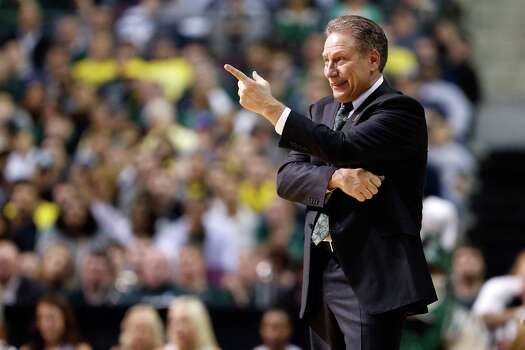 Michigan State coach Tom Izzo reacts as he coaches against the Memphis Tigers. Photo: Gregory Shamus, Getty Images / 2013 Getty Images
